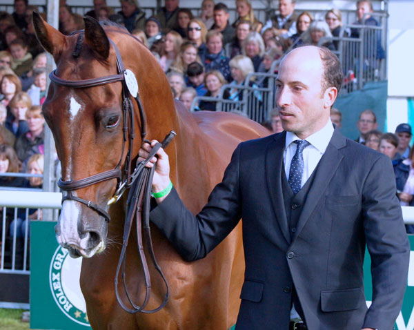 Tim Price (NZL) and Ringwood Sky Boy at the final trot up on Sunday morning.