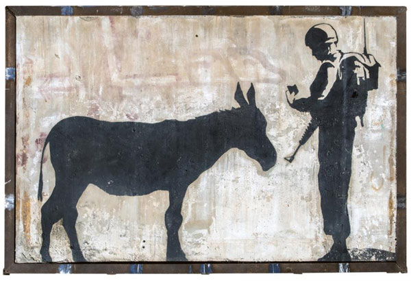 """Banksy's """"Donkey Documents"""" could fetch up to $US600,000 at auction. Photo: Julien's Auctions website"""
