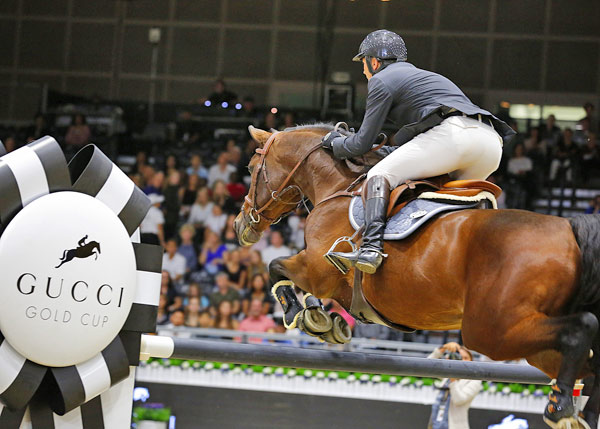 Patrice Delaveau and Carinjo HDC won Saturday's feature class at the Longines Masters of Los Angeles.