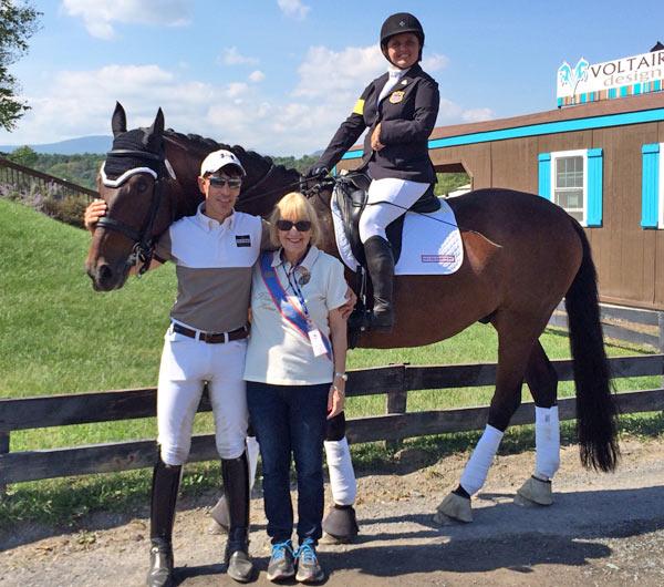 Sahar Daniel Hirosh and Karen Ramsing-Bixler with Sydney Collier aboard Scampano 2.