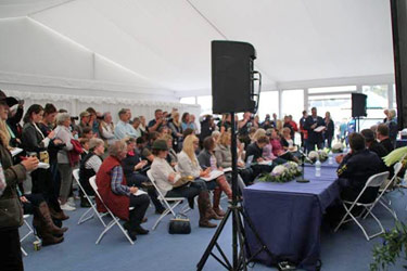 Full house at the media conference at Burghley.