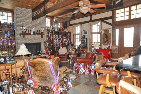 An FBI photo show some of the awards on display in Crundwell's trophy room in her former Red Brick Road ranch in Dixon, Illinois, in 2012.