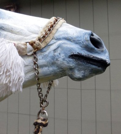 A close-up of the noseband in the Bedouin bridle.