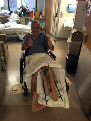 "Carl Bouckaert: ""First time leaving the bed in 1 month. Never seen a bigger a smile!"" his son Stan, reported on Thursday."