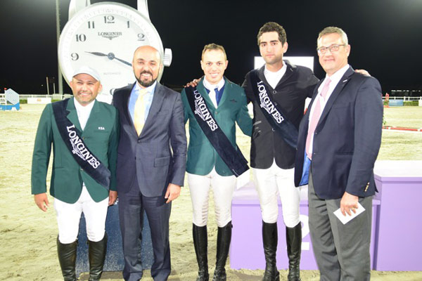 At the last qualifier of the FEI World Cup Jumping Arab League in Al Ain (UAE) last weekend, from left, Saudi Arabia's Ramzy Al Duhami who finished third on the league leaderboard; Patrick Aoun, Longines Regional Brand Manager Middle East; Saudi Arabia's Abdullah Alharbatly who won the League for the second year in succession; Egypt's Mohamed Talaat who was runner-up in the series; and Karim Badaro, FEI World Cup Jumping Arab League Coordinator.