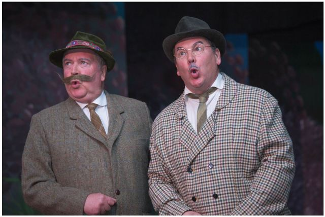 "Richard Gaunt as Donovitz and Lloyd Davies as Linz in ""Spring Fate"" at Milborne Port Village hall"