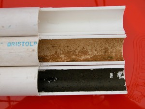 """Biofilm can come into a greenhouse in a municipal water source even though the water has been treated. Schedule-40 polyvinyl chloride irrigation line: new pipe (top), """"clear"""" water line with biofilm (middle), and fertilizer line that carries 200 parts per million nitrogen with layer of algae (bottom)."""