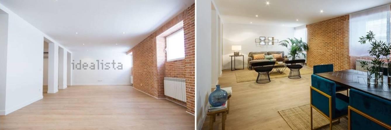 Antes y después del 'home staging' en una vivienda a la venta en Madrid.