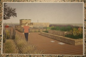 Student graphic showing the possibilities of a green roof on Kilgore Hall's roof