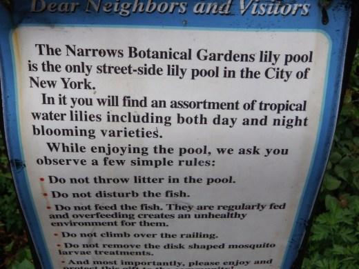 Lily Pool Sign at Narrows Botanic Garden