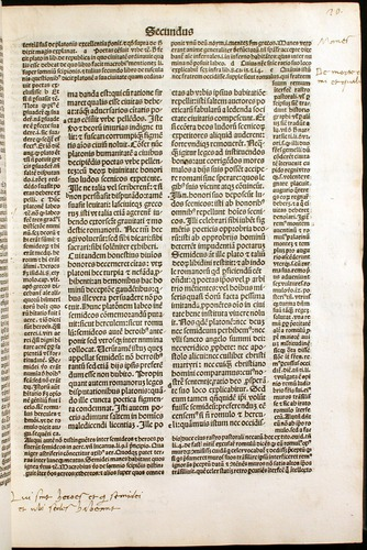 Augustine, De civitate dei (1489).  Central text with surrounding commentary.