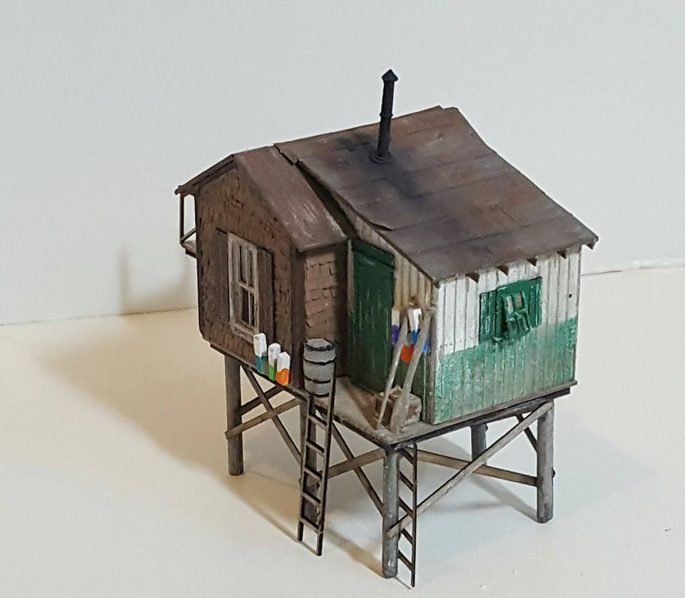 Custom Ho Scale Fishing Shack Bar Mills Fishing Shack Kit