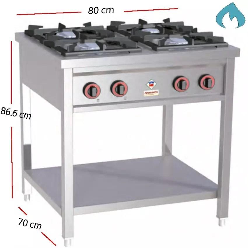 cocina a gas con mueble para restaurantes potente