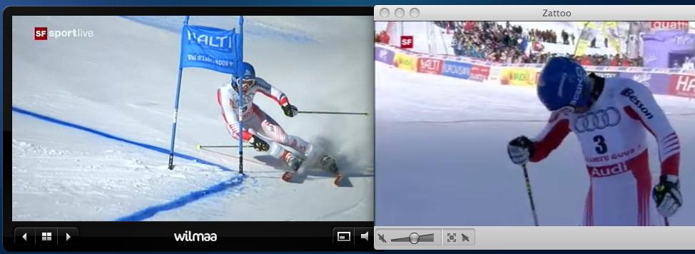 Skirennen SF 2 - Wilmaa (links) / Zattoo (rechts)