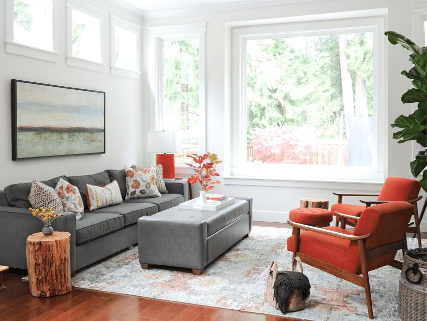 Hoskins-interior-design-Indianapolis-IN-prepare-for-interior-design-consultation-light-bright-livingroom-modern-orange-accent-chairs-gray-couch