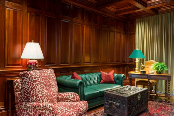 wood panelled library design