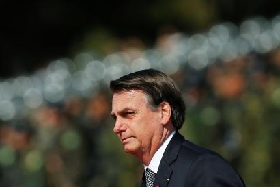 Brazil's President Jair Bolsonaro looks on during an Soldier's Day ceremony, in Brasilia, Brazil, Aug. 23, 2019.