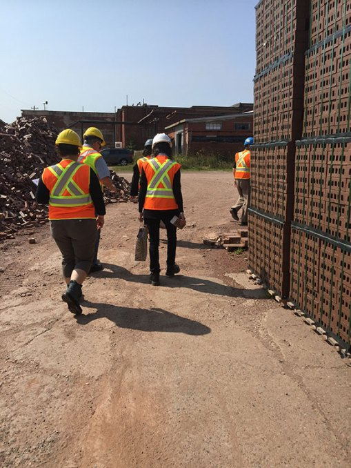 Architect Anne Sinclair and her team, Hospice Halifax CEO Wendy Fraser, and board member Jim Torbert take a tour of Shaw Brick, a brick production facility in Lantz, N.S., in preparation for the new residential hospice.