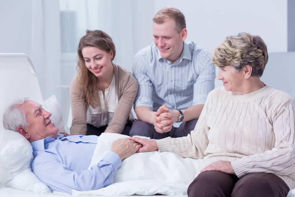 Patient with family receiving hospice care