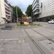 Disused tram lines leading into a new playground on Dortmund's equivalent to O'Connell Street