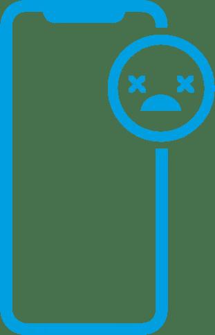 Icone de um iphone com uma carinha com um X no lugar dos olhos