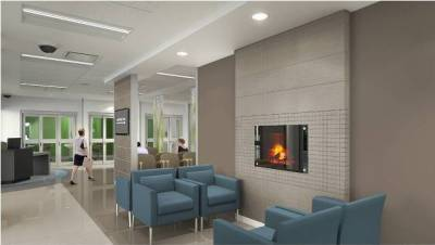 The waiting room at the new Oakville Trafalgar Memorial Hospital.