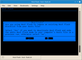 Host Flash offers to delete the Host flash blocklist when Host Flash detects a previously installed Host Flash blocklist.
