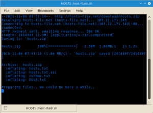 Host Flash reports its activity as it compiles the new hosts file. Activity is displayed on screen and logged to a run.log file stored in the Hosts Flash directory.
