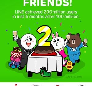 【限時】LINE全球用戶數突破2億!四組貼圖免費下載中!