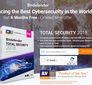【限時免費】Bitdefender Total Security 2018 高評價防毒軟體,免費 180 天授權
