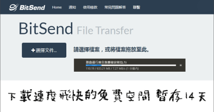 Bitsend 下載速度超快的免費空間,空間無上限暫存 14 天