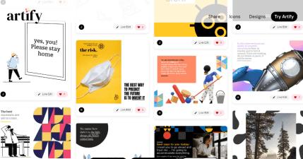 Artify 提供新冠肺炎圖片設計模版及 SNG/PNG icon 圖示,豐富現成模版可直接套用
