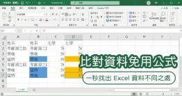 Excel 不懂任何公式,要怎麼比對不同的資料?小編今天要跟大家分享的方法,完全不需要學習任何 Excel 函數,就可以在一份文件中,快速找出兩份資料不同之處,更重要的是這個萬用方法不限於數值、文字,通通可以用!這個方法非常簡單,只需要記住...