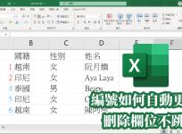 Excel 編號自動更新,解決刪除欄位後跳號問題
