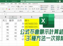 Excel 輸入公式卻沒出現計算結果?3 種解決方式一次看