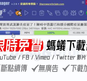 限時免費 Ant Download Manager Pro 2.2.5 螞蟻下載器專業版,YouTube FB Vimeo 專業影片音樂下載器,P2P 斷點續傳也支援
