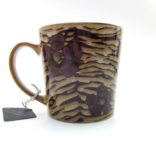 Porcelain Tea Coffee Cup Glazed Tiger & Green Flowers
