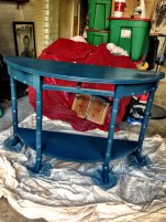 The table after one coat of Bermuda Blue Amy Howard lacquer.