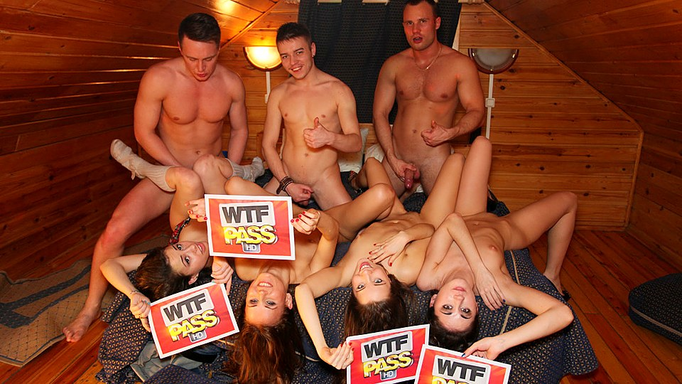Delicious brunettes enjoy DP fun in college orgy encounter