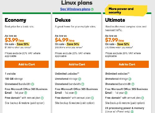 Godaddy hosting plans