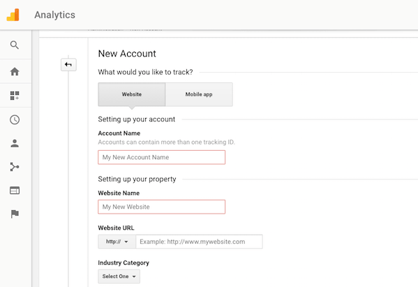 Google Analytics Register Website