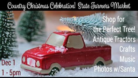 Antique pickup truck toy with christmas trees