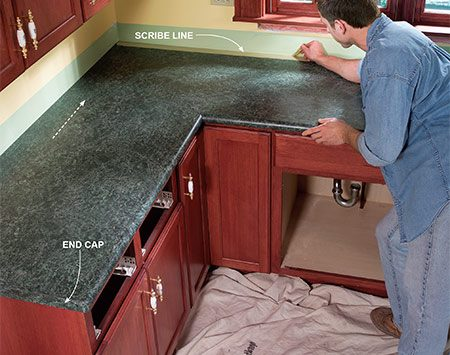kitchen counter overhang rv cabinets install a laminate countertop   the family handyman