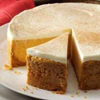 Pumpkin Cheesecake with Sour Cream Topping Photo
