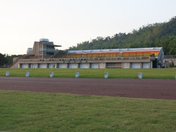 The old school track and bleachers.