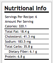 Berry Nut Baked Oatmeal Nutritional Information 6 servings