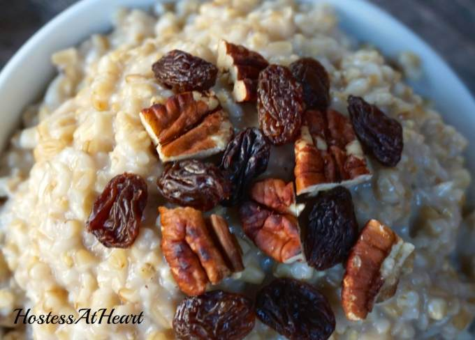 A bowl of Steel Cut Oats is a delicious and healthy way to start your day.  They'll keep you satisfied all morning long | HostessAtHeart