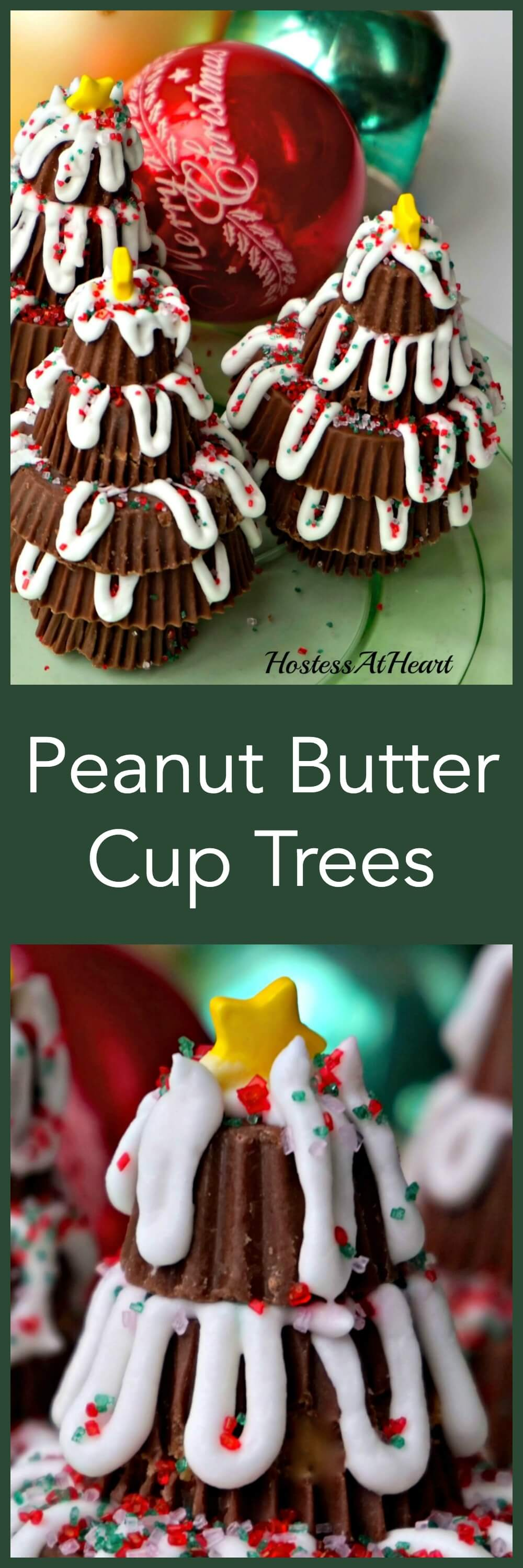 Peanut Butter Cup Trees make an adorable place setter on your table as well as a great after dinner treat. The whole family will have fun making their own.   HostessAtHeart.com