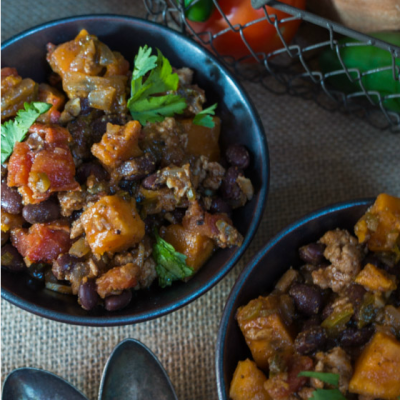 Sweet Potato and Black Bean Chili is a warm and filling dish that's packed with protein, delicious ingredients, and no guilt! | HostessAtHeart.com