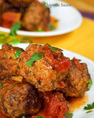This Mexican Meatballs in Chipotle Sauce recipe is easy and makes some delicious meatballs. The sauce adds a nice subtle kick without masking the flavors with overwhelming heat   HostessAtHeart.com